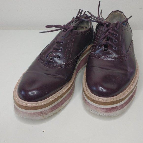 Zara Burgundy Platform Loafers